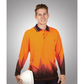 Budget HV Triangular Design Long Sleeve Polo - Model
