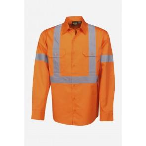 Budget HV DN LS X Back Orange Cotton Twill Shirt