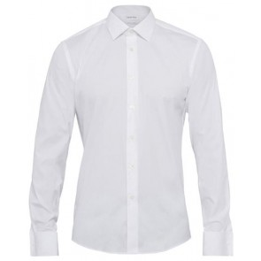 Calvin Klein Slim Fit Shirt - Cotton Stretch Solid Poplin White