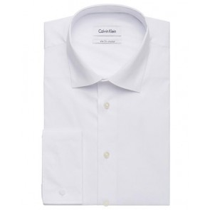 Calvin Klein Mens Cotton Stretch Solid Poplin Slim Fit Shirt