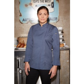 Chef Works Hartford Womens Zipper Chef Jacket - Blue