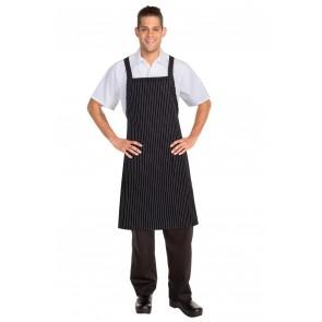 Chef Works Cross Over Black Bib Apron - Black & White Pinstripe