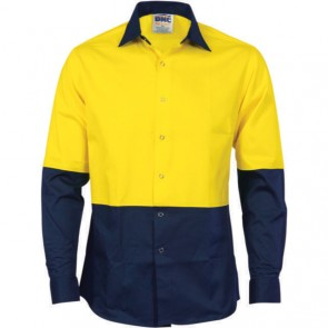 DNC Hi Vis Cool Breeze Food Industry Cotton Shirt - Long Sleeve 155gsm (Metal press studs)