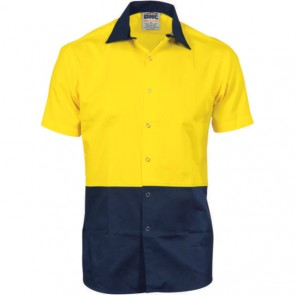 DNC Hi Vis Cool Breeze Food Industry Cotton Shirt - Short Sleeve 155gsm (Metal press studs)