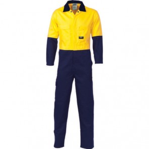DNC HiVis Cool-Breeze 2-Tone LightWeight Cotton Coverall - Yellow Navy