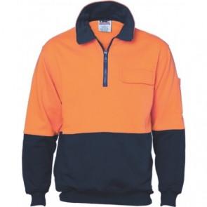 DNC Hi Vis Two Tone 1/2 Zip Cotton Fleecy Windcheater Orange