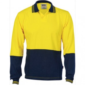 DNC Hi Vis Cool Breeze Cotton Jersey Food Industry Polo Shirt - Long Sleeve 200gsm