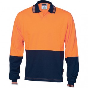 DNC Hi Vis Cool Breeze Cotton Jersey Food Industry Polo Shirt - Long Sleeve