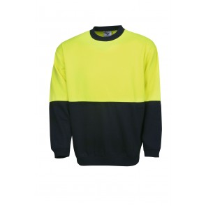 Blue Whale Hi Vis Windcheater Crew Neck Yellow Navy