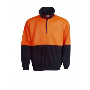 Hi Vis Half Zip Poly Cotton Fleecy Jumper Orange Navy 290gsm