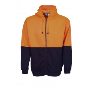 Hi Vis Full Zip Fleecy Hoodie Orange Navy