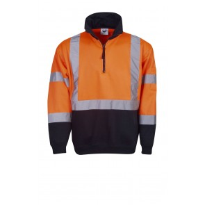 Hi Vis Half Zip Fleecy Jumper Day Night H Pattern Orange Front 300gsm