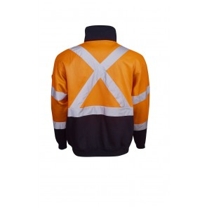 Hi Vis Half Zip Fleecy Jumper Day Night X Pattern Back 300gsm