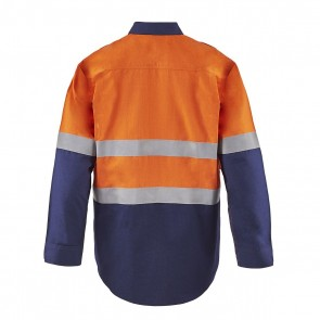 Flame Buster Torrent HRC2 Mens Hi Vis Two tone Open Front Shirt With Gusset Sleeves and FR Reflective Tape