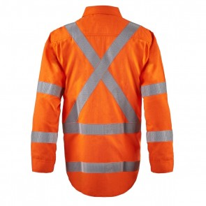 Flame Buster Torrent HRC2 Mens Open Front Shirt With Gusset Sleeves and X Pattern FR Reflective Tape