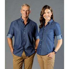 Gloweave Wellington Men's Denim Dobby Slim Fit Long Sleeve Shirt