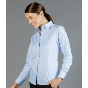 Gloweave Bell Women's Textured Mini Check Long Sleeve Shirt