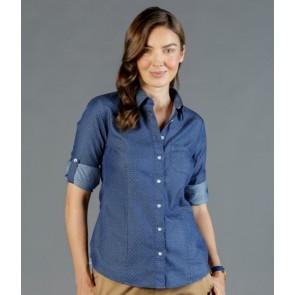 Gloweave Womens Denim Dobby Slim Fit Long Sleeve Shirt
