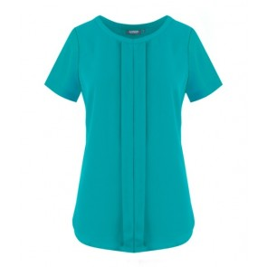 Gloweave Mackenzie Women's Box Pleat Short Sleeve Drape Top - Teal