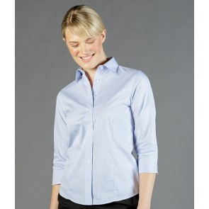 Gloweave Womens Square Dobby 3/4 Sleeve Business Shirt - Blue