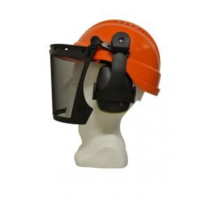 Maxisafe Vented Orange Helmut Forestry Kit with Mesh Visor & Ear Muffs