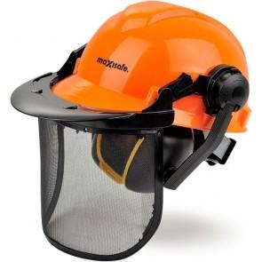 Maxisafe Vented Orange Hard Hat Forestry Kit with Mesh Visor & Earmuffs