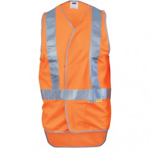 Hi Vis DNC Day/Night X Back Safety Vest with Tail - Fluoro Orange Front