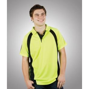 Budget Mens HV CoolFast Mini Waffle Short Sleeve Polo Shirt - Model