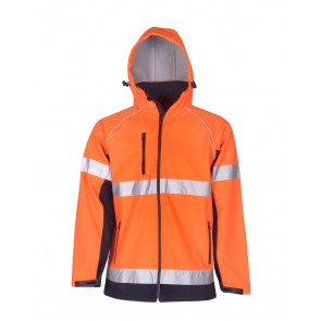 Budget Hi Vis Soft Shell Hooded Jacket Day Night
