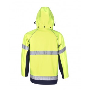 Budget Hi Vis Soft Shell Hooded Jacket Day Night 300gsm