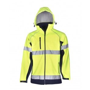 Hi Vis Budget Soft Shell Hooded Jacket Day Night 300gsm