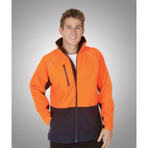 Budget Hi Vis Soft Shell Jacket - Fluoro Orange Navy Model