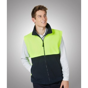Hi Vis Polar Fleece Vest Front - Fluoro Yellow Navy Model