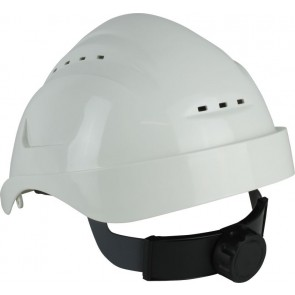 Maxisafe Long Peak White Vented Hard Hat with Ratchet Harness
