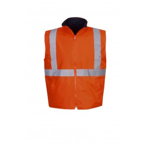 Hi Vis Vest Reversible Day Night 300D Fluoro Orange Front