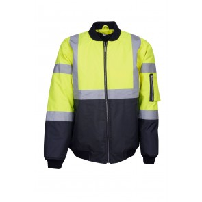 Hi Vis Budget Day Night Flying Jacket Yellow Navy Front J83