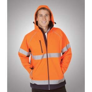 Hi Vis Budget Soft Shell Hooded Jacket Day Night - Orange Navy Model