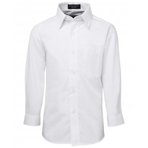 JB's Wear Kids Long Sleeve Poplin Shirt - White