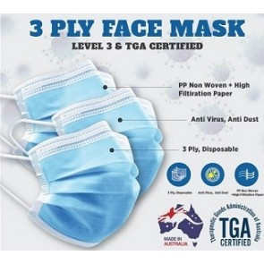 Australian Made Disposable 3 Ply Surgical Face Mask