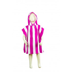 Fun Stripe Kids Poncho Towel - Pink