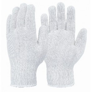Mens Knitted White Polycotton Glove
