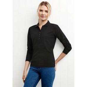 Biz Collection Ladies Crew Long Sleeve Polo - Black Model