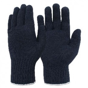 Ladies Knitted Navy Polycotton Glove1