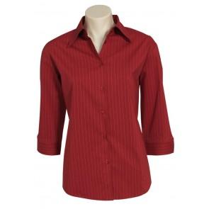 Biz Collection Ladies Manhattan ¾ Sleeve Shirt - Red White