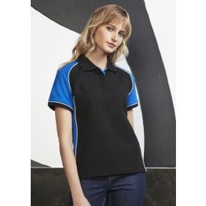 Biz Collection Ladies Nitro Polo Shirt - Black Royal White