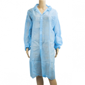 Lab Coat Long Sleeve Disposable Blue