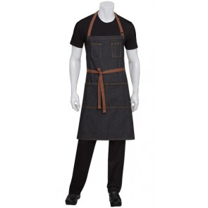 Chef Works Memphis Indigo Black Bib Apron