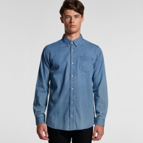AS Colour Men's Blue Denim Shirt - Model Front