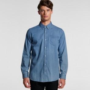 AS Colour Men's Blue Denim Shirt - Model Front