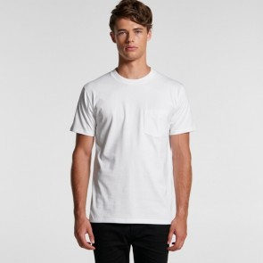 AS Colour Men's Classic Pocket Tee - White Model Front